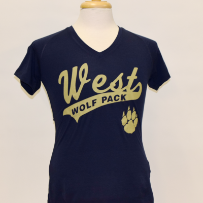 West High Ladies blue gold shirt