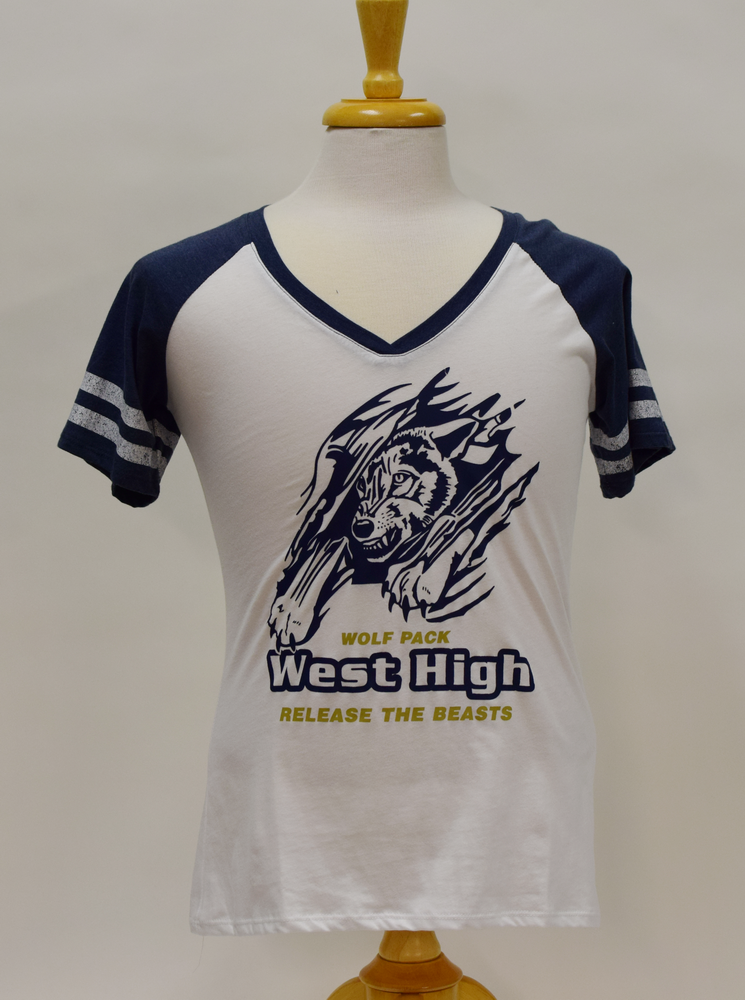 West High Ladies white blue shirt